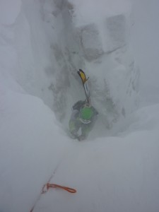Luke emerging from Corbett's Couloir - Photo credit to James Hlavaty